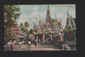 076921 BURMA Great Pagoda Rangoon & advertising Vintage PC
