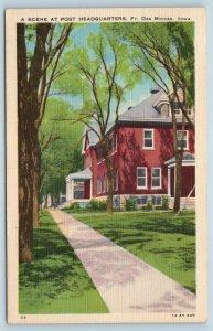 Postcard IA Fort Des Moines A Scene at Post Headquarters c1940s Linen T15
