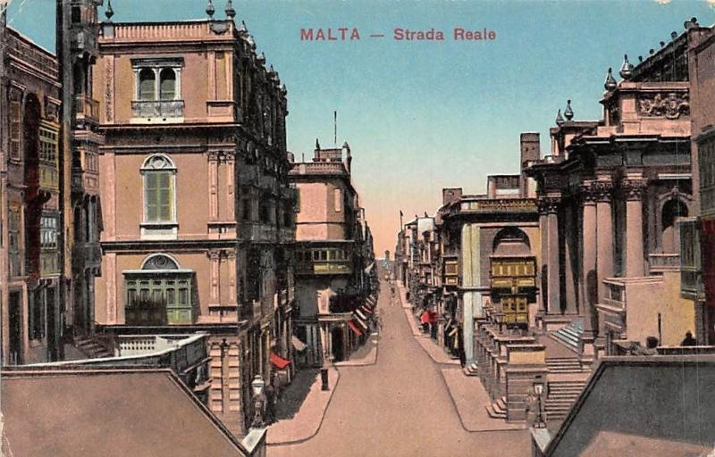 Malta Strada Reale Street View Houses Shops