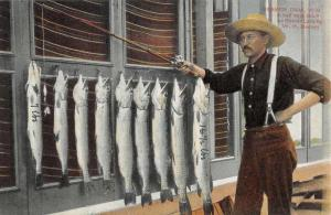 Beaver Dam Wisconsin Fisherman Fisch Catch Antique Postcard K72551