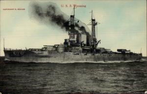 HH Stratton Series US Navy Battleship c1910 Postcard USS WYOMING