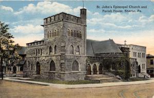 SHARON PENNSYLVANIA ST JOHN'S EPICOPAL CHURCH & PARISH HOUSE POSTCARD c1920