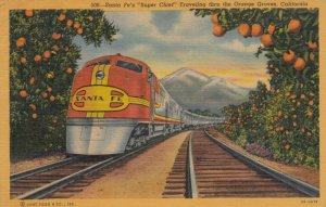 Santa Fe Railroad Train SUPER CHIEF , Orange Groves , California , 1955