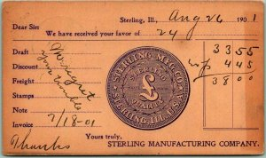 1901 Sterling, IL Business Postcard STERLING MANUFACTURING COMPANY Receipt Card
