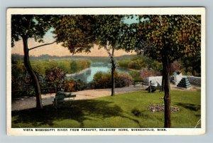 Minneapolis MN-Minnesota, Vista Mississippi River, Vintage c1928 Postcard