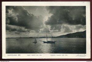 dc1027 - SPAIN Barcelona 1930s Port. Posta del Sol. Real Photo Postcard