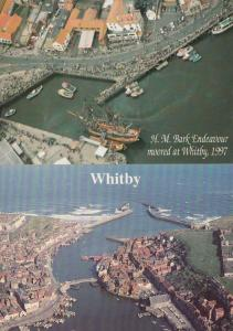 HM Bark Endeavour Ship at Whitby 1997 2x Spectacular Harbour Aerial Postcard s