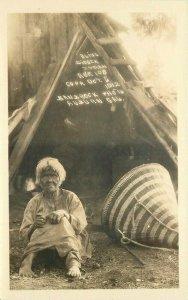 1912 Blind Digger Indian Yosemite NP California Banbrock Auburn RPPC Postcard