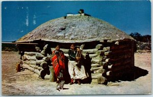 1951 Arizona Native Americana Postcard NAVAJO INDIANS AND THEIR HOGAN w/Cancel