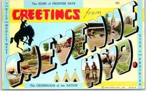 CHEYENNE WYO. Wyoming Large Letter Postcard Frontier Days KROPP Linen Unused