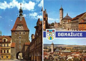 Czech R. Domazlice Castecne Zachovanym Street Gate Tower Church Postcard