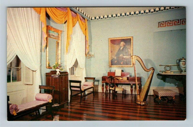 Savannah GA- Georgia, Owens-Thomas House, Drawing Room, Vintage Chrome Postcard
