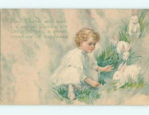Unused Divided-Back easter CHILD REACHES FOR WHITE BUNNY RABBIT r2891