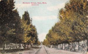 Yale Michigan~Mechanic Street~Tree Lined Rutted Dirt Road Past Homes~1911 PC