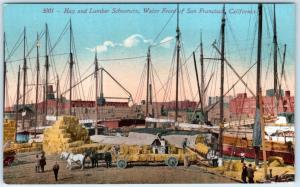 SAN FRANCISCO, California CA  Waterfront  HAY & LUMBER SCHOONERS c1910s Postcard