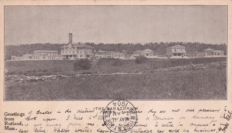 MASSACHUSETTS, PU-1904; The Sanatorium, Greetings From Rutland