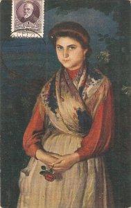 Eugenio Hermoso. spanish Lady. Rosa  Fine painting, nice Spanish PC 1920s