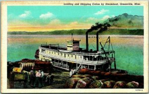 Greenville, Mississippi Postcard Loading & Shipping Cotton by Steamboat Linen