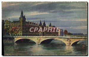Old Postcard strolling Paris Palais de Justice and bridge to exchange