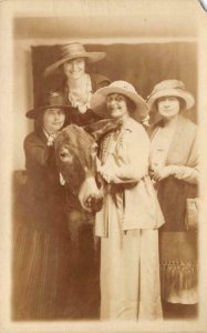 RPPC Four Women in Hats & Donkey Edwardian-Era ca 1910s Vintage Postcard