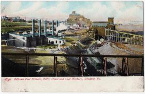 1907 Scranton PA Bellevue Coal Breaker Boiler House Washery Mining UDB Postcard