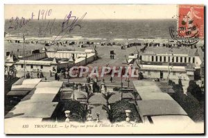 Old Postcard Trouville The Beach shooting the & # 39Hotel of Paris