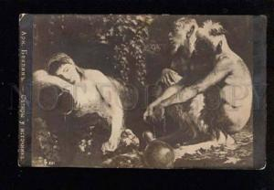 043846 Satyr FAUNS & Nude NYMPH Brook by BOCKLIN old