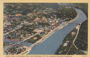 West Virginia Charleston Aerial View Of Kanawha River And Charteston