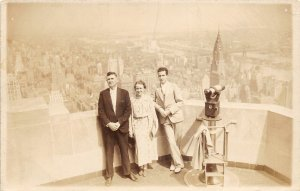 G22/ New York City NYC  RPPC Postcard c1930s Empire State Building Deck