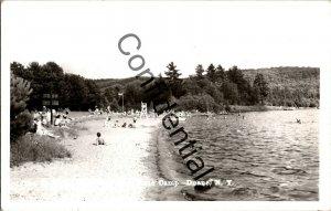 Real Photo Beach At Lake Meacham State Camp Duane NY New York RPPC RP A844