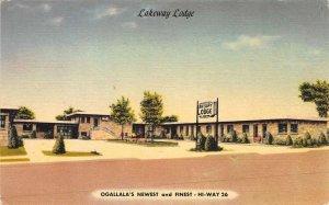 LAKEWAY LODGE Ogallala, Nebraska Hi-Way 26 Roadside Linen Postcard ca 1940s