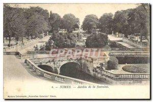 Postcard Old Nimes Fountain Garden