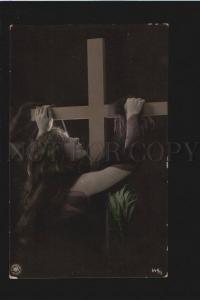 076138 Pray of Woman w/ LONG HAIR Vintage PHOTO Tinted