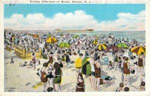 Sunday Afternoon on the Beach Belmar NJ 1930 Swimmers Bathers Swimwear Postcard