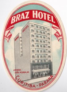 Brasil Curitiba Parana Braz Hotel Vintage Luggage Label sk1333