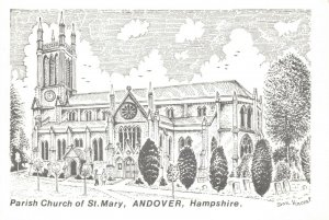 Art Sketch Postcard Parish Church of St Mary Andover Hampshire Don Vincent AS1