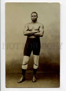 288156 WRESTLING Hajji MURZUK Tunisia Black Wrestler OLD PHOTO