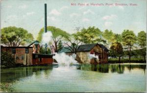 Mill Pond at Marshall's Pond Brockton MA Mass c1908 Postcard D70