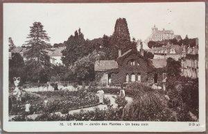 Vintage French Postcard Sepia Tones Castle and Gardens Le Mans France