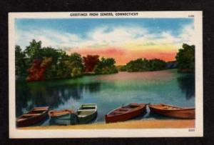 CT Greetings from SOMERS CONN Postcard PC Boats Connecticut