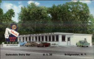 Bridgewater NY Gatesdale Dairy Bar Ice Cream Roadside Old Cars Postcard