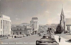 LP11  RPPC  Bozeman Montana Postcard Business District looking East