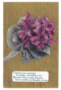 Motto Friendship Poem Postcard Flowers Violets on Gold Moire