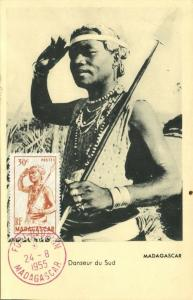 madagascar, Native Dancer from the South, Spear (1955) Stamp