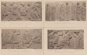 Egyptian Parthenon Frieze East Slab 4x Antique Postcard s