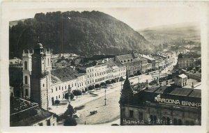 Slovakia Banska Bistrica bank & panorama photo postcard c.1933