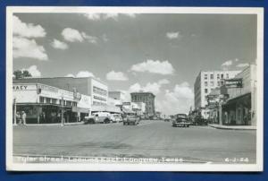 Longview Texas tx Tyler Street Avery's Pharmacy cars real photo postcard RPPC