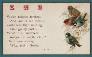 A Smile Cant Be Sent By The Post Office Wrens Signing Songcard Old Postcard