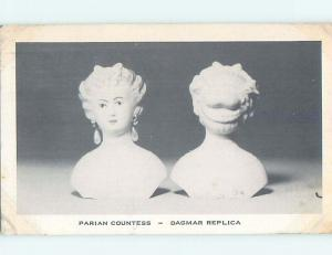 Linen PARISIAN COUNTESS SCULPTURE ON POSTCARD HM9870