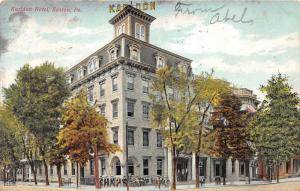 Easton Pennsylvania~Karldon Hotel~Men Sitting/Standing Along Sidewalk~1908 PC